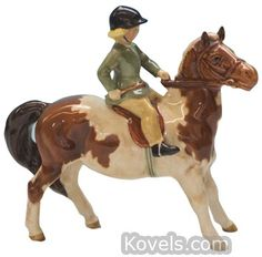 Beswick Figurine Girl On Skewbald Pony