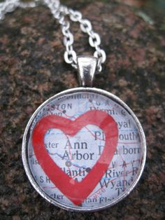 i LOVE ANN ARBOR Pendant And Necklace Unisex by TreeTownPaper, $18.00