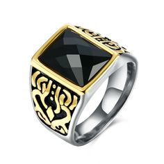 New Fashion Carving 316L Stainless Steel Brand Jewelry Accessories Royal Black Crystal Men Carter Titanium Rings Men Biker Ring