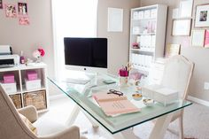 Bonnie Bakhtiari's Pink and Chic Home Office {Office Tour}