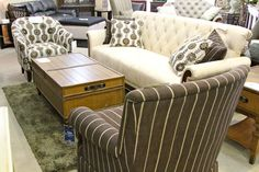 Aico/Michael Amini Cloche Tufted Sofa & Accent Chairs - Colleen's Classic Consignment, Las Vegas, NV - www.cccfurnishings.com Tufted Sofa, Cozy Living Rooms, Las Vegas, Accent Chairs, Armchair, Room Ideas, Sweet Home, Couch, Coffee