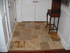 Floor tile pattern set on diagonal with decorative for Front foyer tile designs