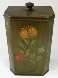 Penn Dutch hand painted tole tea caddy