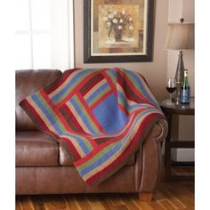 Log Cabin Throw by Mary Maxim