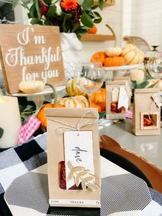 Thanksgiving Treat Bag Place Cards with gilded Wood Embellishments Thanksgiving Place Cards, First Thanksgiving, Thanksgiving Treats, Small Gift Bags, Small Gifts, Pinecone Fire Starters, Dried Oranges, Wood Tags, Fall Dinner