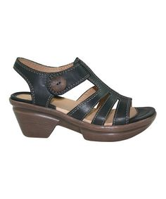 $49.99 Take a look at this Black Leather Ninka Sandal - Women by Sanita on #zulily today!