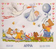 Stork and Baby Birth Sampler Cross Stitch Kit by Vervaco