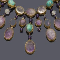 An amethyst, rock crystal and amazonite necklace and bracelet suite