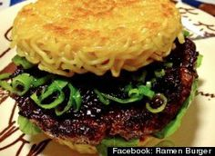 """OMG...the """"Ramen Burger""""???? I'll have to veganize this...maybe shiitake/hoisin veg burgers, with cabbage and crisped scallions?"""