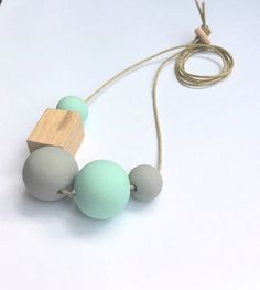 Handmade Clay Bead Necklace  Mint and Grey by OneWhiteSunday, $38.00