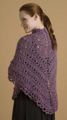 Crochet Shawl Patterns | Free Knitting Pattern 60301 Easy Triangle Shawl : Lion Brand Yarn ...