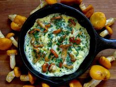 Chanterelle Omelet with Fines Herbes / Omelet aux girolles chanterelle  (use coconut oil and  low-fat yogurt)