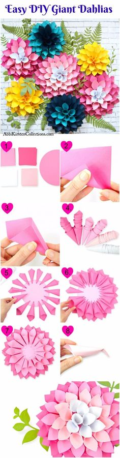 DIY Paper Flowers - DIY Giant Dahlia Paper Flowers - How To Make A Paper Flower - Large Wedding Backdrop for Wall Decor - Easy Tissue Paper Flower Tutorial for Kids - Giant Projects for Photo Backdrops - Daisy, Roses, Bouquets, Centerpieces - Cricut Template and Step by Step Tutorial http://diyjoy.com/diy-paper-flowers