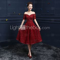 Cocktail Party / Prom Dress A-line Off-the-shoulder Tea-length Lace with Appliques / Sequins 2017 - $102.95