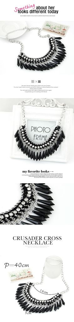 Streamline black taseel decorated simple design alloy Korean Necklaces,Korean Necklaces  www.asujewelry.com