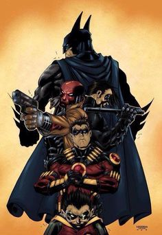 Batman nightwing red hood and robin this would make a awsome half sleeve tattoo