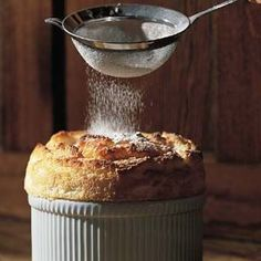 Vanilla Bean Soufflé (Williams Sonoma)- Ingredients:  1 cup milk  1/2 vanilla bean  2 Tbs. unsalted butter  2 Tbs. all-purpose flour  4 egg yolks  1/4 tsp. salt  1/3 cup superfine sugar  6 egg whites  1 Tbs. cognac  Confectioners' sugar for dusting (optional). Serves 6.