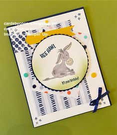 Sale a bration, handmade, handmade card, paper, stamps, ink, darling donkeys It's Your Birthday, Birthday Cards, Handmade Stamps, The Donkey, Star Patterns, Stampin Up, Starter Kit, Card Stock, Diys