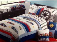 BOY ZONE Race Car TWIN Appliqué Embroidered Quilt Green Blue White Red Black #BoyZone