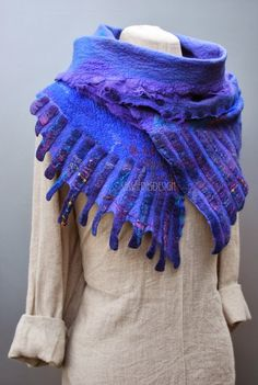 sassafrasdesign amazing couture fashion design for a felt shawl, or cowl love those purple and blue mixes