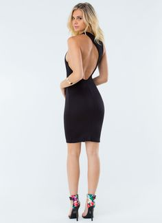 Back At Ya Cut-Out Midi Dress IVORY BLACK - GoJane.com