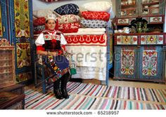 KOROSFO, ROMANIA - CIRCA MAY Girl wearing a traditional hungarian costume waits for visitors in a traditionally decorated room from the Korosfo area. Circa May, 2004 in Izvoru Crisului, Romania - stock photo Folk Costume, Costumes, Folk Dance, Girls Wear, Decoration, Ukraine, Istanbul, Royalty Free Stock Photos, Traditional