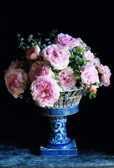 Gorgeous, English Cabbage Roses in this beautiful antique blue and white cache pot.those cabbage roses are beautiful. Rosas David Austin, David Austin Rosen, My Flower, Fresh Flowers, Beautiful Flowers, Pink Flowers, Pink Peonies, Cactus Flower, Exotic Flowers