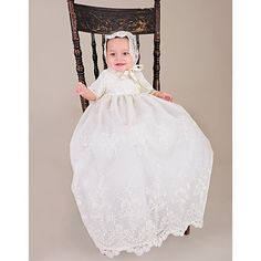 103.00$  Buy here - http://ali5s5.worldwells.pw/go.php?t=32588691637 - Royal 2015 Newborn Heirloom Dedication Christening Gown Toddlers Blessing Dress with Bonnet Baby Baptism Robe For Boys Girls 103.00$