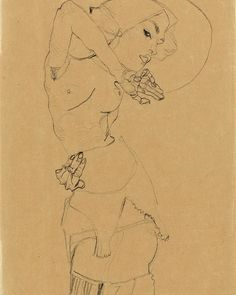 Картинки по запросу standing nude with large hat (gertrude schiele)