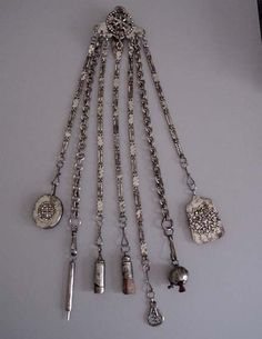 Victorian Chatelaine | Victorian 1800s cut steel sewing chatelaine