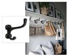 Every home needs one of these!  Easy to construct coat rack made of a flat board wrapped in ceiling crown moulding and topped with a ledge.   Find iron hooks @ House of Antique Hardware:  http://www.houseofantiquehardware.com/antique-coat-hooks-iron-harness-double Rack idea repinned fromhttp://pinterest.com/pin/156992736982259589/