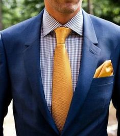 What are the tips in choosing a suit for men? What are the ways of look fashionable with suits? What styles and combinations should be used for suits? Navy Blue And Gold Suit, Navy Tux, Yellow Suit, Navy Blue Suit, Yellow Ties, Navy Gold, Blue Suit Wedding, Wedding Men, Wedding Suits