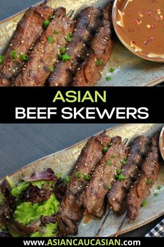 Asian beef skewers are the perfect grilling summer recipe and ideal for an easy healthy dinner recipe. This dish is great for a pick-up starter or as a main served with a side salad and sticky rice. #easydinnerrecipe #healthyasianrecipe #beefrecipe #beeftenderloinrecipe #flanksteakrecipe Beef Tenderloin Recipes, Flank Steak Recipes, Beef Recipes, Easy Homemade Recipes, Healthy Dinner Recipes, Vegetarian Recipes, Easy Summer Meals, Summer Recipes, Healthy Asian Recipes