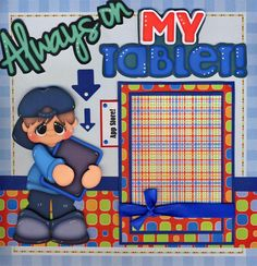 Always on My Tablet Boy 2 Premade Scrapbook Pages Paper Piecing Layout Cherry | eBay