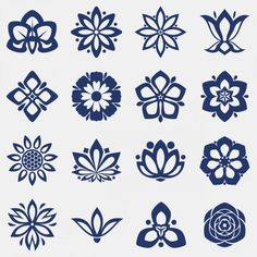 Flower icons collection, Free Vector in Icons by / Freepik Flower Art Drawing, Floral Drawing, Doodle Tattoo, Doodle Art, Motif Floral, Arte Floral, Typo Logo Design, Scroll Saw Patterns Free, Art Deco Design