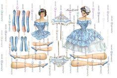 Blue DIGITAL PAPER DOLL  Vintage Altered art Ballerina  by Artwolf