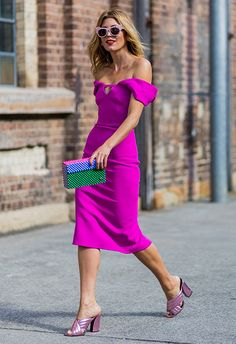 Be fancy but fresh with one seriously badass, bold midi dress. Match with metallic crossover mules – Gucci-style – and a colourblock clutch