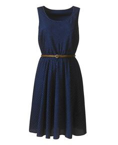 Sleeveless Spot Dress With Tan Belt at Simply Be