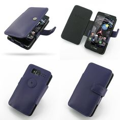 PDair Leather Case for Motorola Droid Razr Maxx HD - Book Type (Purple)