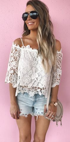 #spring #outfits White Lace Cold Shoulder Top + Bleached Denim Short