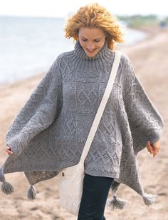 Free knitting pattern for a ladies cabled poncho and shoulder bag set. Patons Blanket Poncho and Bag Free Knit Patterns. Patons knitting pattern for women. Poncho Knitting Patterns, Knit Patterns, Bag Patterns, Sweater Patterns, Stitch Patterns, Knitted Poncho, Knitted Shawls, Knit Cardigan, Jumper