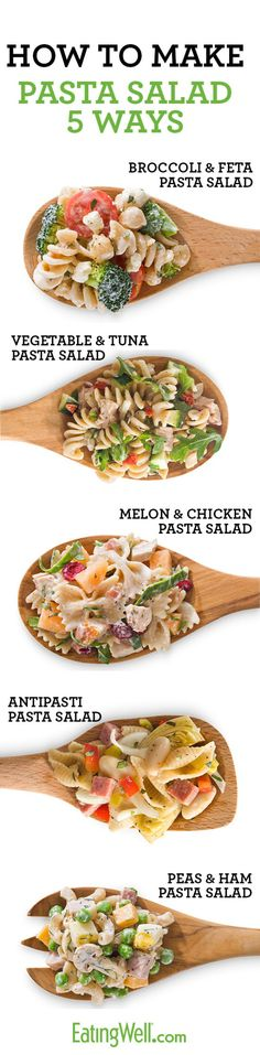 Healthy Pasta Salad Recipes ~ I don't really like pasta salad much but in case I need a quick pot luck dish!