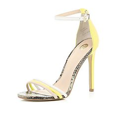 Yellow triple strap barely there sandals $90.00