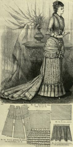 Mody Paryzkie 1879.: Concert dress with panier and long train with ricsh mousseline balayeuse.