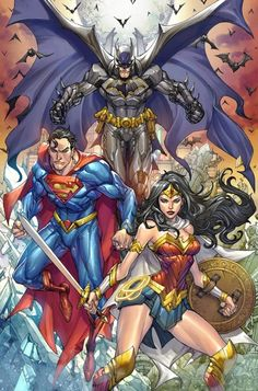 coming to ECCC, who I'm going to see there? Holy DC Trinity from me and Arif Prianto Justice League Comics, Arte Dc Comics, Dc Comics Superheroes, Dc Comics Characters, Superman Wonder Woman, Batman And Superman, Arte Dark Souls, Dc Trinity, Univers Dc