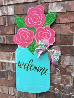 SHIPS NOW Spring Door Hanger Floral Door by CrazyArtTeacherLady