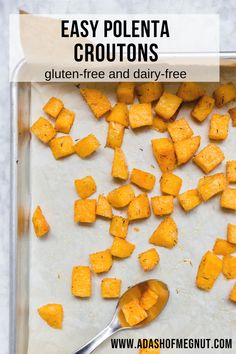 These easy polenta croutons are such a fun substitution for bread croutons if you can't eat gluten. You can use them any way you would use normal croutons, from salads to soups or as a snack. They're great with a side of marinara sauce for snacking and take your tomato soup to another level. You'll love how simple these are to make when you use precooked tubed polenta. Just toss with olive oil and herbs and bake in the oven! #glutenfree #dairyfree #easyrecipe #salad #vegan via @adashofmegnut
