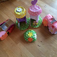 Toilet roll fairy houses and cars with my girl