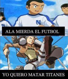 Blog Ultra Ocio/Chistes Humor / Solo Otakus- Pues quien diría que de futbolista el chico se volvió cazador de titanes jajaja