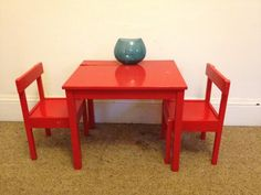 e873cb7926e1 Retro Red wooden table and 2 chairs childrens Vintage childs desk chair  Timber